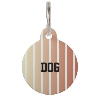 Orange Beige Vintage Stripes Pet Tag