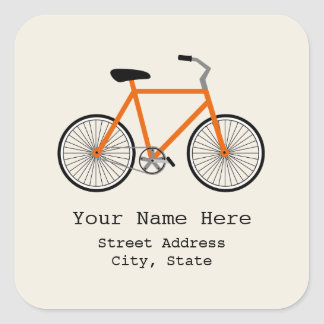Orange Bicycle Address Sticker