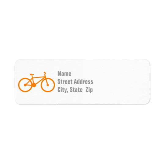 Orange Bicycle Return Address Label