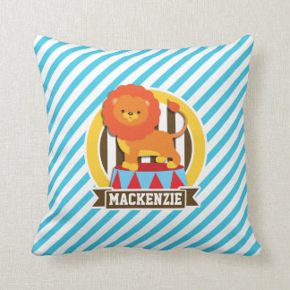 Orange Big Top Circus Lion; Blue & White Stripes Cushions
