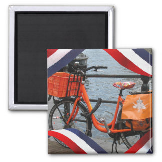 Orange Bike Red White Blue Orange Fridge Magnet