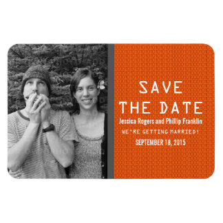 Orange Binary Code Photo Save the Date Magnet