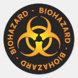 Orange Biohazard Symbol Sticker