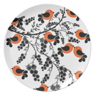 orange birds plate