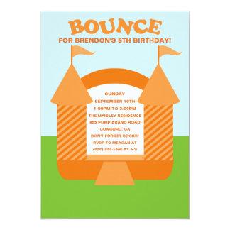 Orange Birthday Bounce Bouncy House Birthday Party Card