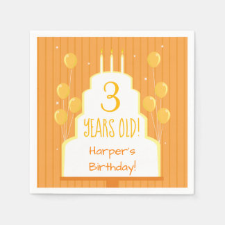 Orange Birthday Cake and Balloons | Paper Napkin