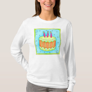 Orange Birthday Cake with Candles Tee Shirt