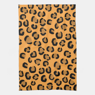 Orange, Black and Brown Leopard Print Pattern. Tea Towel