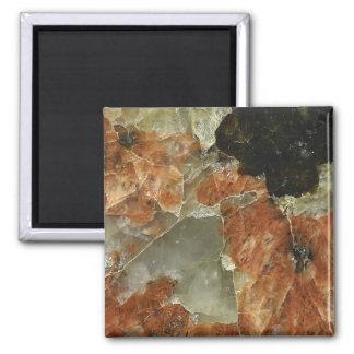 Orange, Black and Clear Quartz Square Magnet