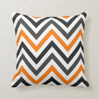 Orange black and gray chevron pillow