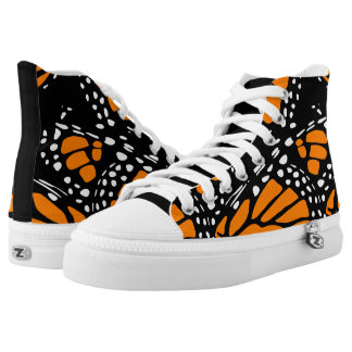 Orange, Black and White Abstract Monarch Wing High Tops