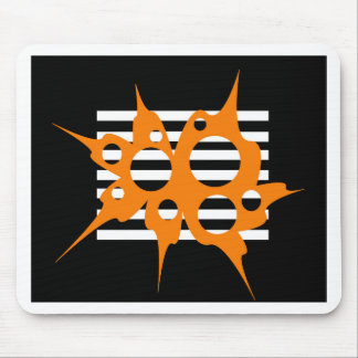 Orange, black and white abstraction mouse pad