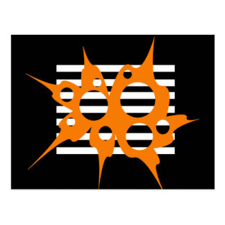 Orange, black and white abstraction postcard