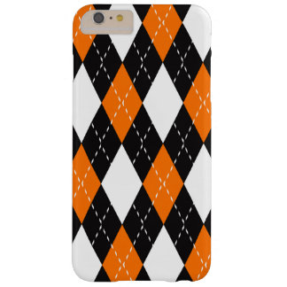 Orange black and white Argyle Pattern Barely There iPhone 6 Plus Case