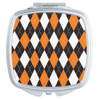 Orange black and white Argyle Pattern Mirrors For Makeup