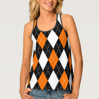 Orange black and white Argyle Pattern Singlet
