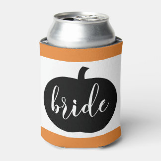 Orange Black and White Autumn Bride Can Cooler