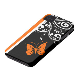 Orange Black and White Butterfly Flourish Case-Mate iPhone 4 Case