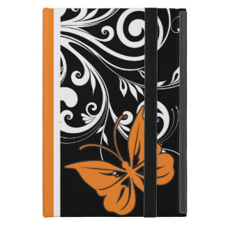 Orange Black and white Butterfly Flourish iPad Mini Cover