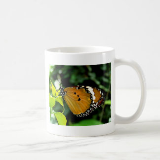 Orange, Black and White Butterfly on Leaf Coffee Mugs