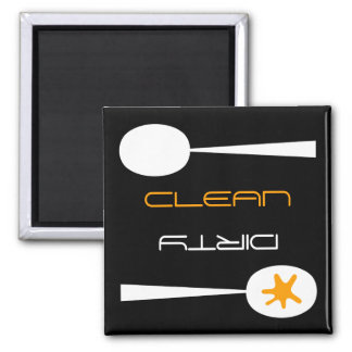 Orange, Black and White, Clean or Dirty Dishwasher Square Magnet