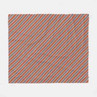 Orange, Black and White Diagonal Stripes Fleece Blanket
