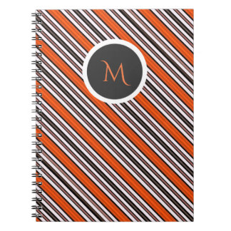 Orange Black and White Diagonal Stripes Monogram Spiral Notebooks