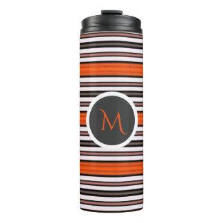 Orange Black and White Horizontal Stripes Monogram Thermal Tumbler