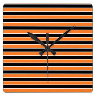 Orange, Black and White Stripes Wall Clocks