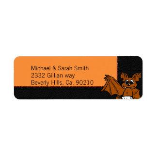 Orange & Black Bat Baby Shower Return Address Label