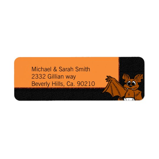 Orange & Black Bat Baby Shower Return Address Label