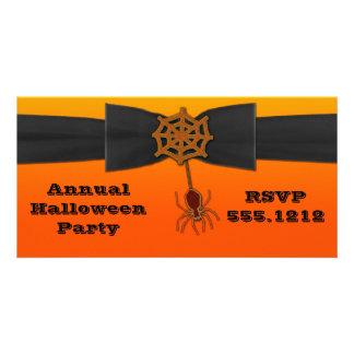 Orange & Black Bling Spider Web Personalized Photo Card