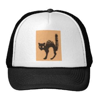 Orange Black Cat Silhouette Mesh Hats