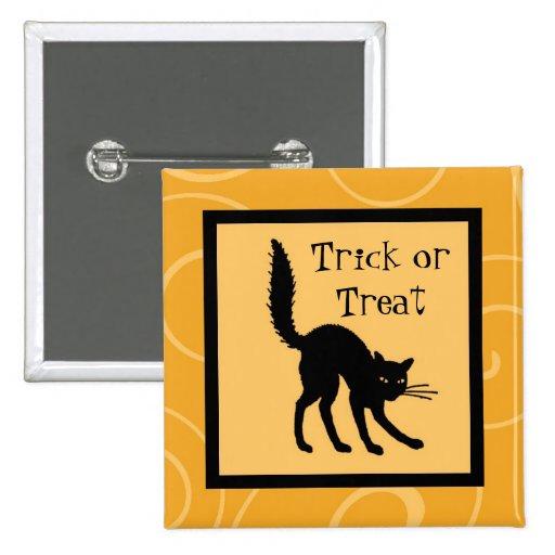 Orange Black Cat Trick or Treat Halloween Pin