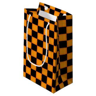 Orange Black check pattern small gift bag