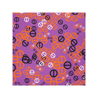 Orange Black Circle Flower Floral in Grey Canvas Gallery Wrapped Canvas