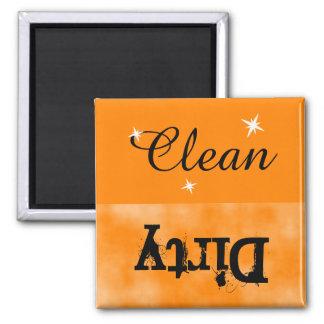 Orange Black Clean Dirty Magnet for Dishwasher