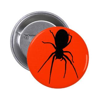 Orange Black Creepy Spider Button