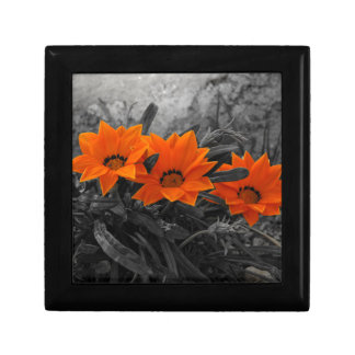 Orange & Black Flower Floral Photography Design Small Square Gift Box