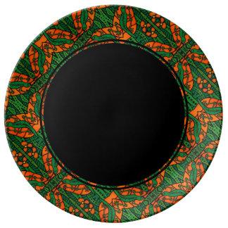 Orange Black & Green Lizard Gecko Pattern Plate