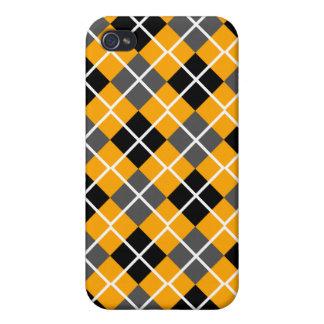 Orange, Black, Grey & White Argyle iPhone 4 Case