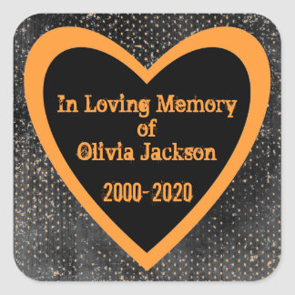 Orange black grunge heart custom sympathy stickers