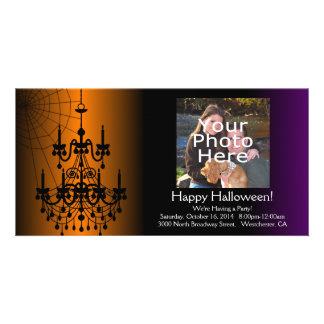 Orange Black Halloween Chandelier Photo Greeting Card