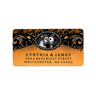 Orange Black Halloween Elegant Wedding Skeletons Label