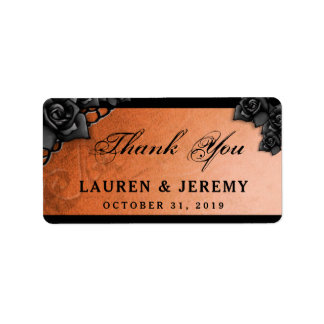 Orange & Black Halloween Wedding Thank You Labels