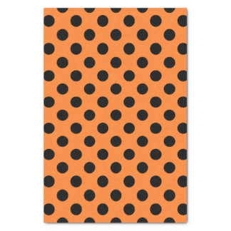 Orange & Black Large Polka Dot Tissue Paper