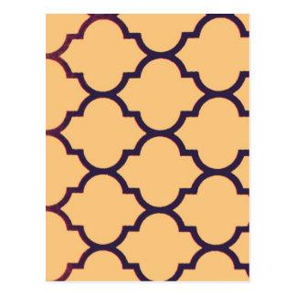 orange black Moroccan Lattice Repeatable Pattern Postcard