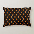 Orange black pattern accent pillow