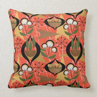 Orange, Black, Plants | Atomic | Mid-Century Cushion