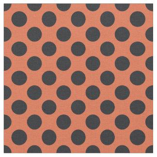 Orange & Black Polka Dot Fabric